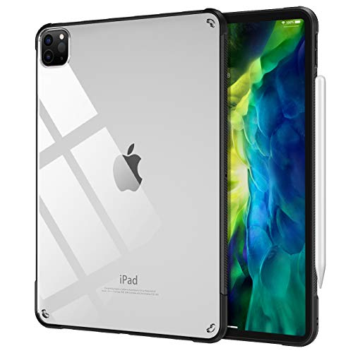 TiMOVO Case for New iPad Pro 11 Inch 2020 (2nd Generation), [Support Apple Pencil Pair/Charging] Ultra Slim Shock Absorbant Flexible TPU Air-Pillow Edge Protective Clear Case - Black