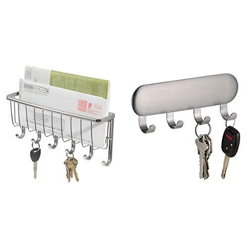 iDesign Briefablage, kleine Hakenleiste mit 6 Haken für Schlüssel aus Metall, silberfarben & Schlüsselbrett mit vier Haken, kleine Hakenleiste aus Edelstahl, selbstklebende Wandhaken
