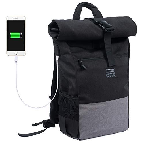 EverVanz Laptop Backpack Women & Men Roll Top Water Resistant Travel Hiking Rucksack...