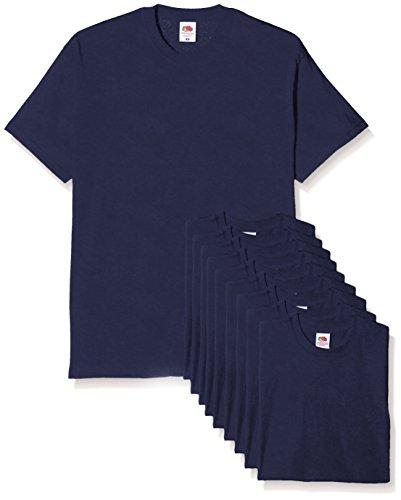 Fruit of the Loom Mens Original Pack, T-Shirt Uomo, Blu (Navy), Large