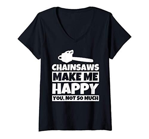 Mujer Regalos para amantes de la motosierra - Humor gracioso de ta Camiseta Cuello V