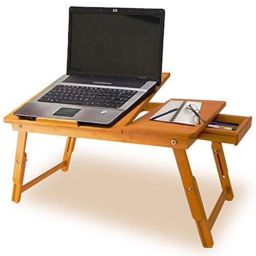 Natural Bamboo Wood Portable Light Weight Wooden Bed Table Stand for Laptop Desk Lap Desk Notebook iPad Tablet Book Tray Organiser with Folding Legs & Adjustable Height with Drawer