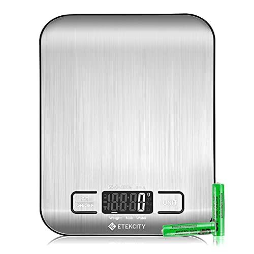 ETEKCITY Balance Cuisine Electronique 5kg Ultra-mince avec Grand Ecran LCD, Balance Alimentaire Inox avec Précision de 1g & 4 Unités de Pesée, Fonction Tare, 2 AAA Piles Inclus