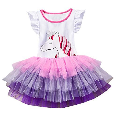 Allence Mädchen Kleider Sommerkleid Blume Baumwolle Lässige Kinderkleidung mit Rock Tütü