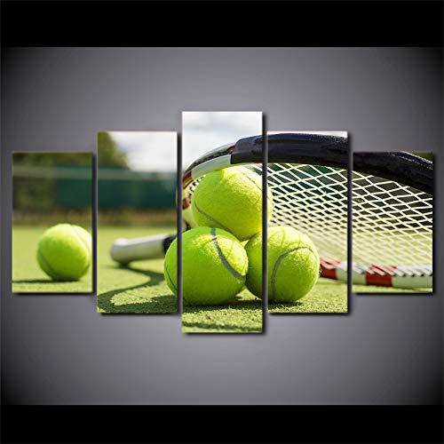 DGGDVP Arte Impreso 5 Piezas Lienzo Arte Raqueta de Tenis Pintura Cuadros de Pared para decoración de Sala de Estar póster tamaño 1 con Marco