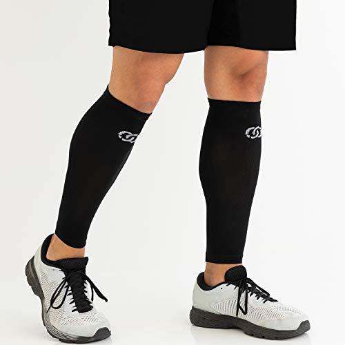 Compressions Socken mit Wadenärmeln zur Unterstützung der Schienbeinschiene für Männer und Frauen (1 Paar) Klein-Mittel Schwarz - 3