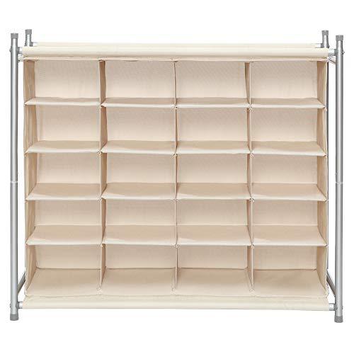 Storage Maniac Organizador apilable de zapatos de 20 cubos, zapatero de pie para entrada, dormitorio, apartamento, armario, beige