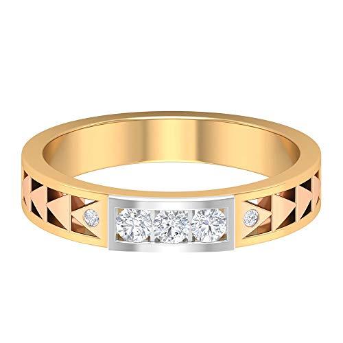 Anillo vintage calado, anillo de compromiso de diamantes de 1/4 quilates HI-SI, anillo de compromiso, anillo de boda, anillo de declaración de novio, 10K Oro blanco, Size:EU 55