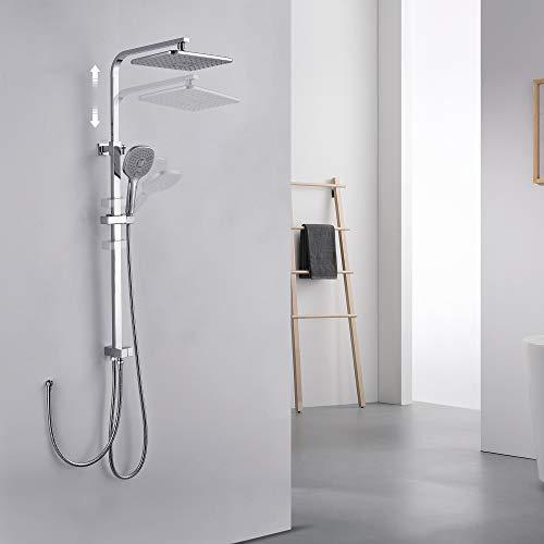 Auralum Duschsäule mit 3 Strahlarten Handbrause aus Edelstahl, Duschsysteme Regendusche duschkopf ohne Thermostatarmatur, inkl. verstellbare Duschstange, Chrom