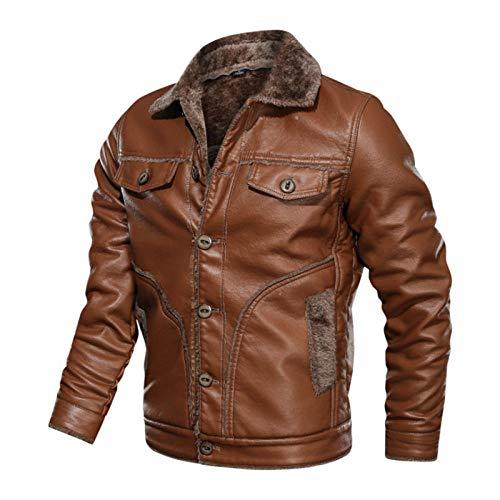 2020 Neue russische Winter Lederjacke Herren Hochwertige Kunstpelz Warme Lederjacken Herrenmäntel Jaqueta De Couro Masculina 8XL-Brown_M