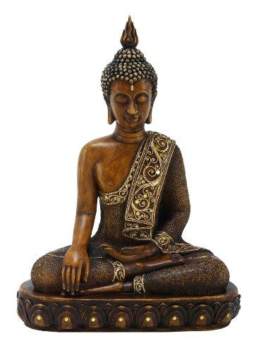 Benzara Escultura de Buda de polistone sentado, 15 por 12 pulgadas, acabado en bronce texturizado, 44125