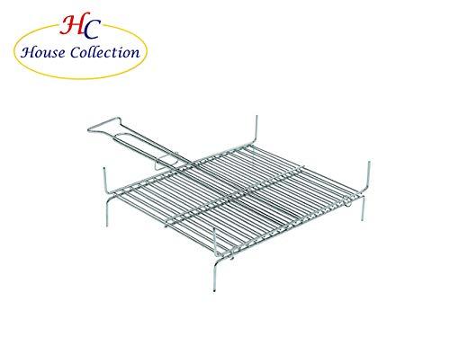 House Collection HSC0667 - Griglia barbecue, Graticola, 13 barre verticali, a Conchiglia, Acciaio, 25 x 30 cm