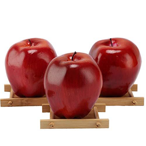 3 Manzanas artificiales, frutas falsas, manzanas rojas deliciosas para decoración, frutas realistas, manzanas rojas sintéticas.
