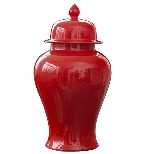 WLGQ Moderne chinesische Keramik Tempel Glas rote Tabelle dekorative Blumentempel Ingwer Glas Vase Chinamingstyle Porzellan Blumen Tempel Glas Vase für Wohnzimmer A H60xw27cm