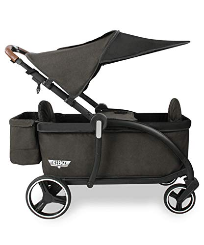 Keenz Class Stroller Wagon with Ergonomic Seats and 5-Point Safety Harnesses – Luxury Stroller Wagon for 2 – Lightweight Baby, Toddler & Big Kids Wagon with Removable Canopy & One Handed Folding