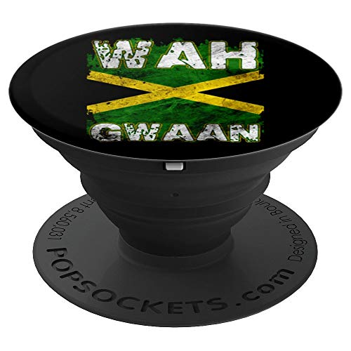 Jamaica Shirt Wah Gwaan Rasta Cool Distressed Jamaican Flag PopSockets Grip and Stand for Phones and Tablets