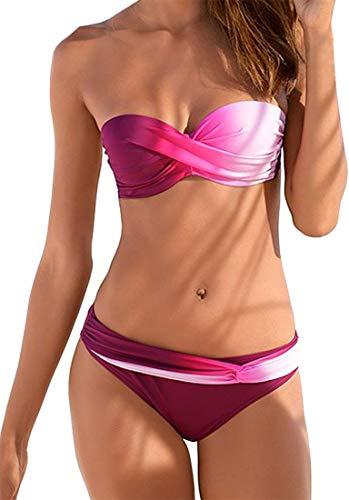 EUDOLAH Damen Bandeau Padded Bikini-Set Trägerlosen Badeanzug Push Up (Large Z-Pink)