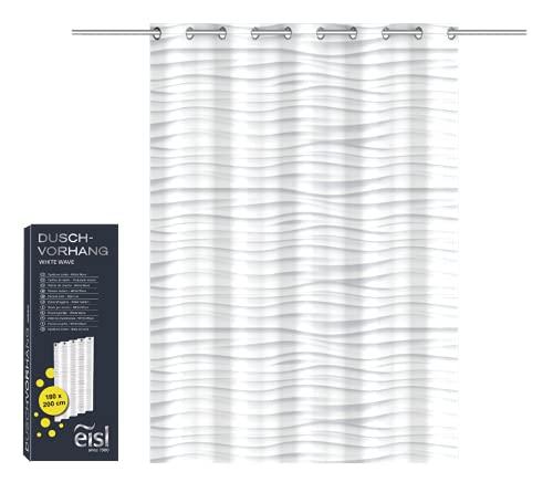 EISL Textil Duschvorhang mit Motiv (180x200 cm) für die Badewanne waschbarer Antischimmel Vorhang mit wasserdichter Beschichtung Vollständig Blickdicht White Wave Gestreift