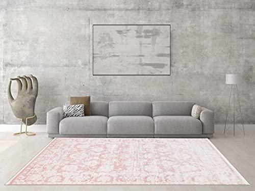 the carpet Boho Vintage Moderner Designer Teppich, Wohnzimmerteppich, Pflegeleicht, Farbecht, Blickfang, Seidenoptik, Elegant, Edler Glanz, Antislip, Muster, Rosa, 160 x 230 cm