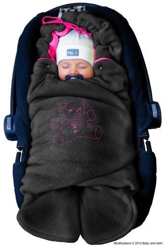 ByBoom - Baby Winter-Einschlagdecke 'Das Original mit dem Bären', Universal für Babyschale, Autositz, z.B. für Maxi-Cosi, Römer, für Kinderwagen, Buggy oder Babybett, Farbe:Anthrazit/Fuchsia