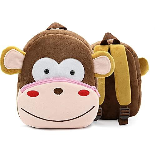 ZWRY Mochila infantil Niños de dibujos animados lindo mono mochila jardín de infantes niños mochilas escolares niña niño mochila regalo mono