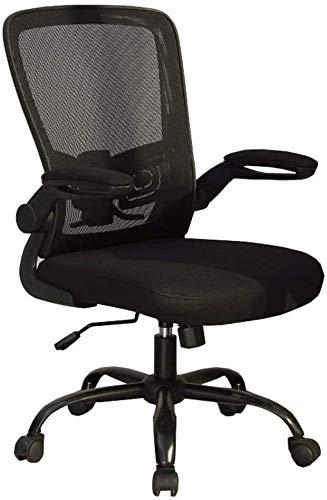 Sedia da ufficio ZXJ Sedia Rotante corrimano Sedia Computer Sollevare Regolabile Lombare del Cuscino Mesh Traspirante Cuscinetto Peso 150 kg (Color : Black)