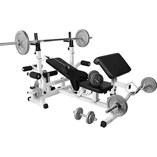 Banc de Musculation Universel Blanc GS005 avec Supports et Set d'haltères en Fonte de 105,5 KG