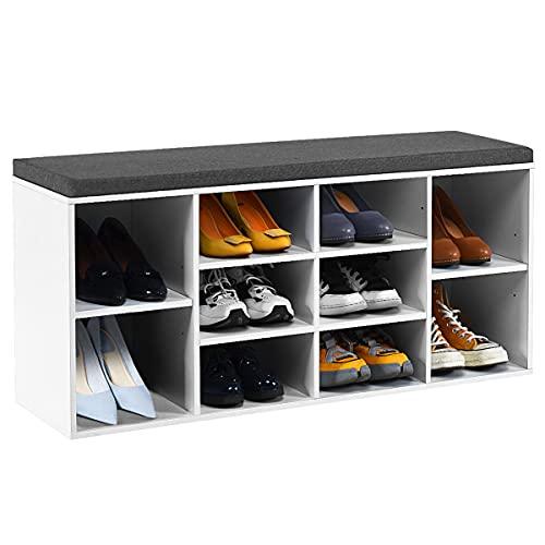 *RELAX4LIFE Schuhbank mit Sitzfläche, Schuhregal aus Holz, Schuhkommode mit 2 verstellbaren Regalen, Schuhablage mit Sitzkissen, Schuhtruhe für Flur & Eingang, Sitzbank, 104 x 30 x 48 cm (Weiß)*