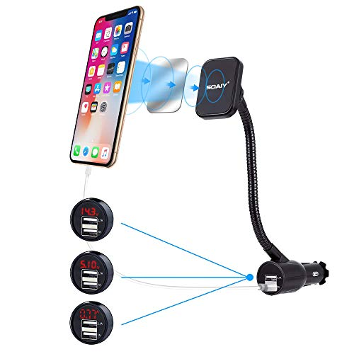 SOAIY 3-in-1 Universal Magnetische KFZ Auto Halterung Magnet Handyhalter mit Ladegerät Dual USB Zigarettenanzünder Netzteil Ladefunktion inkl. Led-Autobatterieanzeige 3.1A 12/24V für Smarthpones