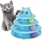 FayTun Rodillo de juguete para gatos de 3 niveles, pistas de torres, juguete mejorado con tres bolas, juguetes de ejercicio físico interactivo para gatito