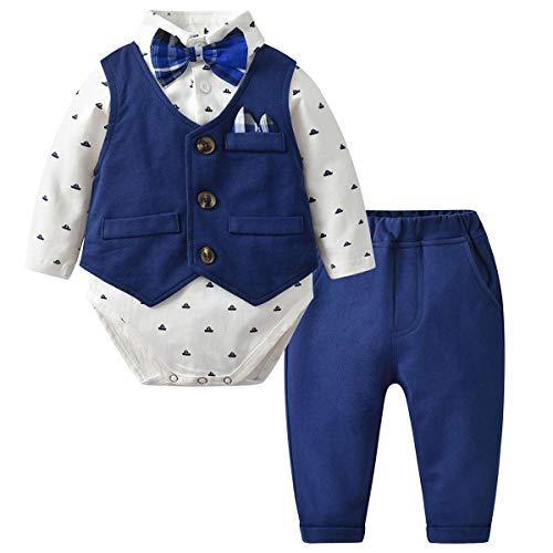 Kanodan Baby Boy Waistcoat Gentleman Suit Long Sleeve 3 Pieces Wedding Outfits (Royal Blue 2, 12-18Months)