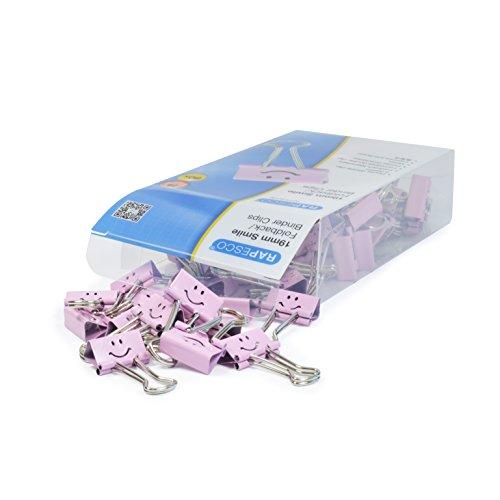 Rapesco Accesorios - Caja de 80 pinzas / clips de 19mm, hasta 75 hojas con sonrisas rosas