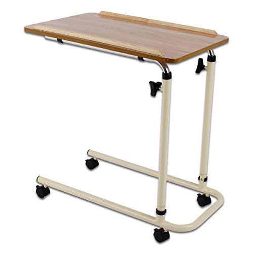 Performance Health Overbed Table with Castors, Laptop Desk with Wheels, Bedside Table, Study Desk, Fully Adjustable Height and Angle, Laminated Top, Flat Packed