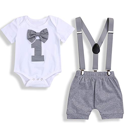 GRNSHTS Baby Boy Funny First Birthday Clothes Infant Boy Bow Tie Romper Bodysuit Cake Smash Outfits (A Gray, 12-18 Months)
