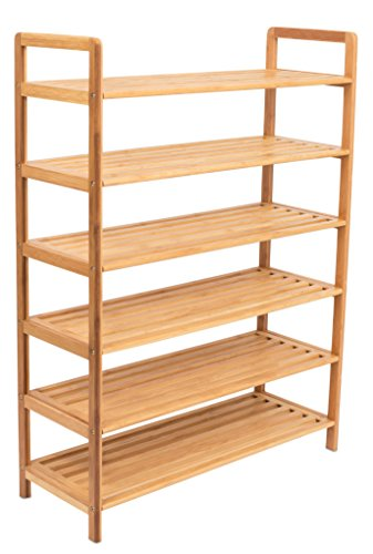BIRDROCK HOME Free Standing Bamboo Shoe Rack - 6 Tier - Wood...