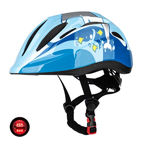 SUNRIMOON Toddler Bike Helmets - Helmet for Kids Boys Girls Child Ages 3-8 Adjustable with Taillight CPSC Scooter Small 48-52 cm