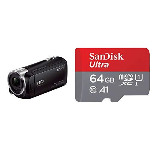 """Sony Handycam HDR-CX405 - Videocámara de 9.2 MP (Pantalla de 2.7"""", Zoom óptico 30x, estabilizador óptico, vídeo Full HD), Negro + SanDisk SDSQUA4-064G-GN6MA, Clase 10, U1, 64 GB, Rojo/Gris"""