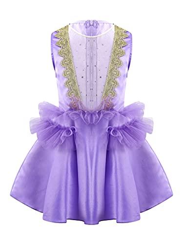 Alvivi Vestido de Danza Ballet Niña para Fiesta Navidad Carnaval Vestido Princesa de Patinaje Artistico Disfraz de Bailarina Niña 2-10 años Morado 3-4 años