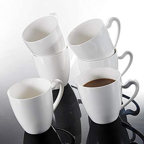 MALACASA, Serie Elvira, 6 Piezas Vajillas de Porcelana Juego de Vaso 5'' 380ml Vaso para Leche Vaso para Te Vaso para Caffe