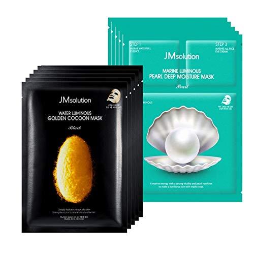 10pc Bundle- JMsolution -Water Luminous Golden Cocoon Mask Black 5x and Marine Luminous Pearl Deep Moisture 3 Step Mask - 5x