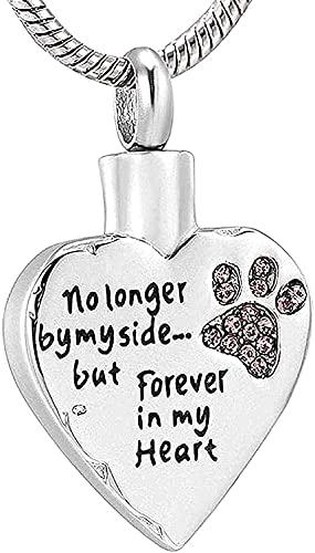 YXYSHX Collar Urnas para PerrosJoyas de cremación Cenizas Jarrón de Recuerdo Cenizas Colgante de cremación fósil Garra de Cristal Rosa Cenizas de Perro y frascos de Recuerdo Siempre a mi Lado