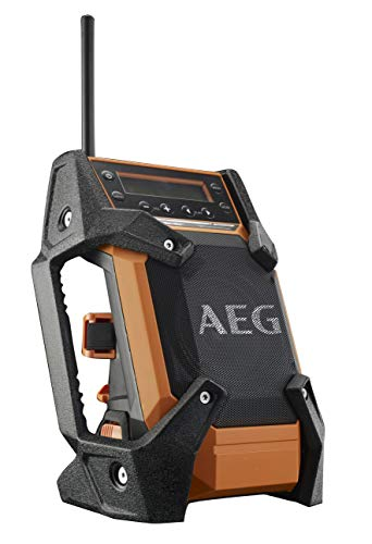 AEG Baustellenradio mit DAB+ FM, 18 V, für Netz- oder Akkubetrieb, robustes Gehäuse, ohne Akku – BR1218C-0