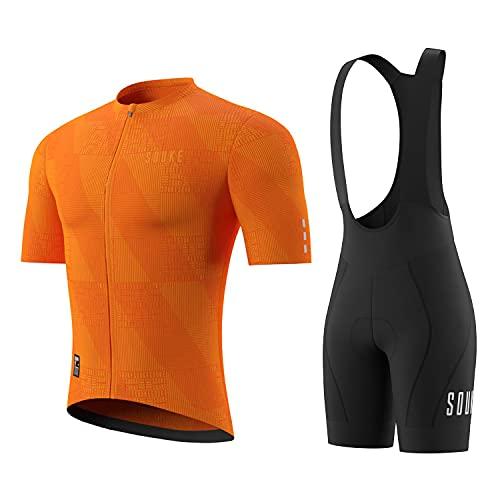 Souke Sports- Set di Abbigliamento Ciclista Ciclismo Uomo Gel Salopette(Arancione Scuro/Nero XXL)