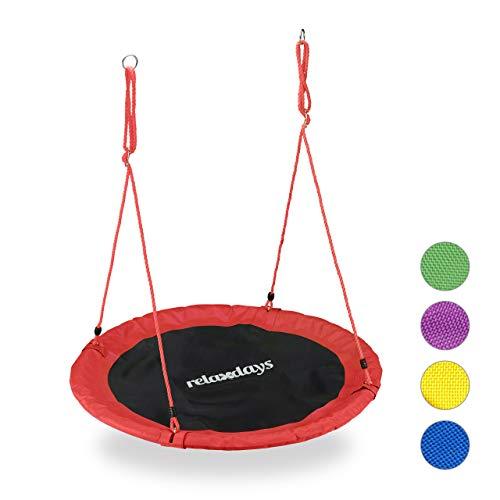 Relaxdays Unisex– Erwachsene, rot Nestschaukel, Outdoor Schaukel für Kinder & Erwachsene, Ø 110 cm, bis 100 kg, rund, Garten Tellerschaukel, H x D: ca. 5 x 110 cm