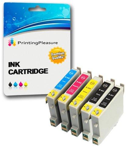 5 XL Tintenpatronen kompatibel zu Epson T0441-T0444 (T0445) für Stylus C64 C66 C68 C84 C84N C84WN C86 CX3600 CX3650 CX4600 CX6400 CX6600 - Schwarz/Cyan/Magenta/Gelb, hohe Kapazität