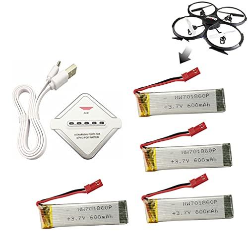 Batteria al Litio 4PCS 3.7V 600mAh con Caricatore 4 in 1 per UDI U815A U817A U818A WLtoys V929 V939 V949 V959 V969 V979 V989 V999 V222 Syma S032G quadcopter Aereo Drone telecomandato