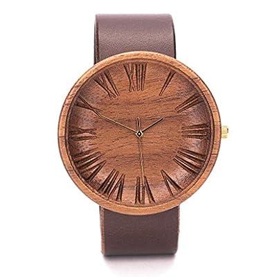 Holzuhr Herren - 42mm Uhr Lederarmband mit Schweizer Uhrwerk