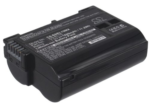 TECHTEK batería sustituye EN-EL15, para EN-EL15A Compatible con [Nikon] 1 V1, Coolpix D7000, D600, D610, D7000, D7100, D7200, D750, D800, D800E, D810, D810A, Digital SLR D800, MB-D12