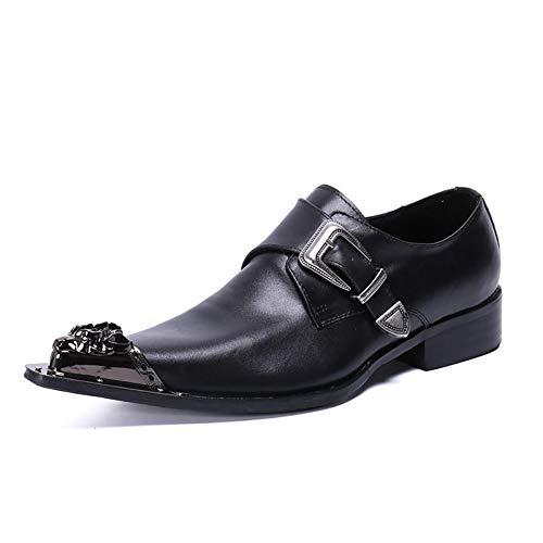 Mens Formele Monk Schoenen Smart Lederen Metalen Gesp Jurk Schoenen Monk Strap Loafers Casual Luie Schoenen