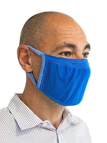Relaxsan - SET 3 [blu] Fasce filtranti viso bocca naso lavabili riutilizzabili assorbenti tessuto batteriostatico